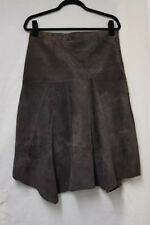New Look Skirt Vintage Casual Brown Suede Leather Skirt Size 12 Uneven Hem Skirt