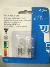 PACK OF 2 HALOGEN G9 BULBS 40W 220-240V DIMMABLE WARM WHITE 2 PIN LIGHTS LAMP