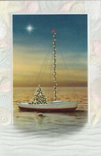 16 Embossed Boxed Christmas Cards Decorated Sail Boat
