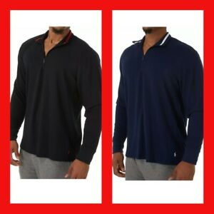 Polo Ralph Lauren PPO8HR Knit Sleepwear pullover 1/4 zip sz L shirt Black Blue
