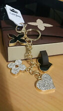 Flower Heart Key Chain Bag Purse Charm Ring Crystals Keychain