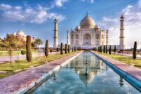 Taj Mahal in Autumn Agra India Photo Art Print Mural Poster 36x54 inch