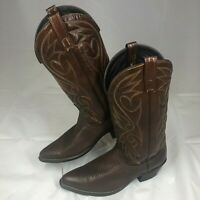 DINGO Western Cowboy Boots WOMENS SIZE 9D Brown Leather Stitch Pattern