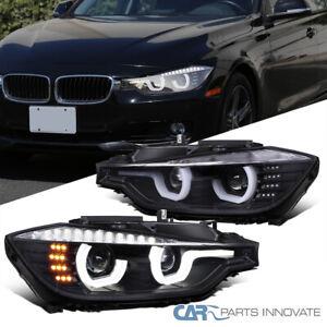 For 12-15 BMW F30 3-Series Matte Black U-Halo Projector Headlights+LED Signal