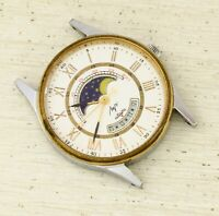 RARE Luch moon phase quartz USSR Soviet wristwatch, NOT WORKING for parts!