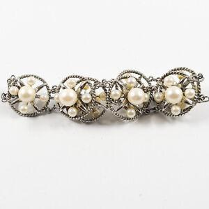 """Vintage Sterling Salt Water Lustrous Akoya Pearl 7"""" Bracelet  7 8.2 & 28 4.5 MM"""
