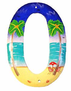Tropical Beach House Numbers Haitian Metal Art Number 0 Zero