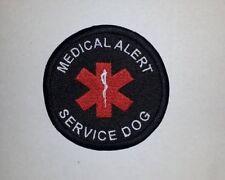 "Medical Alert Service Dog - 3"" Black Embroidered Sew On Patch"