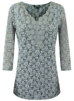 NEW Ex Per Una Ladies Grey Lace Floral V neck Tunic Top Party Size 10- 24