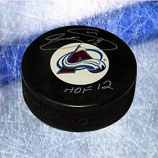 Joe Sakic Colorado Avalanche Signed Hockey Puck with HOF