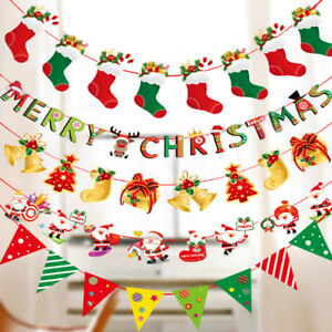 Christmas DIY Tree Hanging Flags Banner Ornament Xmas Gift Home Yard Party Decor