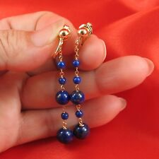 14k Yellow Gold Filled Non Pierced Clip-On Handcrafted Blue Lapis Earring TPJ