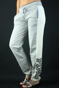 Victoria's Secret PINK Jogger Fleece Striped Logo Sweat Pants Marl Gray Ivory