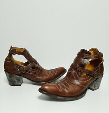 "BL1892-4 OLD GRINGO ""JOY"" Brass Ankle Shoe Cowboy Boots Sz 8.5 B Brown"