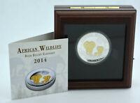 1 oz Silber PP 2014 Somalia 100 Shilling Elefant High Relief gilded Auflage 500