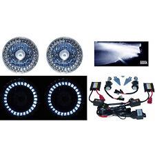 5-3/4 White LED Halo Angel Eyes Projector Headlight H4 6000K HID Light Bulb Pair