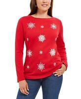 Karen Scott Sz XL Knit Top Red Snowflake Embellished Holiday Top NWT