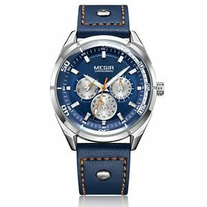 MEGIR Men's Watches Quartz Movement Alloy Case Leather Band Blue Dial 2072