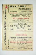 HILLSDALE, JONESVILLE, Michigan 1968 City Directory, advertising, map, phone