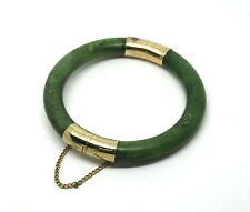 Vintage Chinese Green Taiwan Tube JADE Gold Toned Clasp Hinged Bangle Bracelet