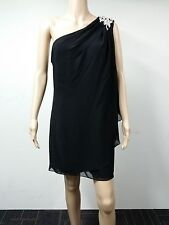 NEW FAST to AU - J S Boutique - Size 12 - Beaded One Shoulder Dress - Black $149
