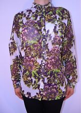 Topshop Cream Purple Smart Floral Chiffon Boxy High Low Blogger Blouse 12 AG