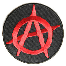 Embroidered Anarchy Symbol Red on Black Sew or Iron on Patch Biker Patch