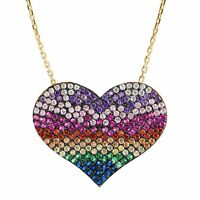 "Rainbow Cubic Zirconia Heart Pendant in Gold-Plated Sterling Silver, 16"" + 2"""