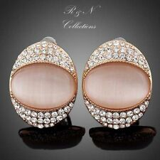 The Cat's Eye Rose Gold Plated Clear Stellux  Austrian Crystals Stud Earrings