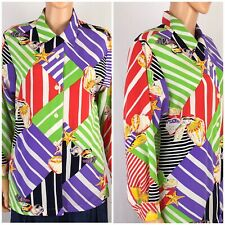 Vtg. Totally 80s Blouse Abstract Print Nautical Bold Oversized Graphic Colorful