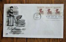 BABY BUGGY 1880s TRANSPORTATION COIL STRIP ARTCRAFT CACHET 1984 FDC PNC#2 UNAD