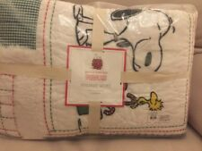 Pottery Barn Kids Snoopy Peanuts Christmas Holiday Twin Quilt Only🌲�
