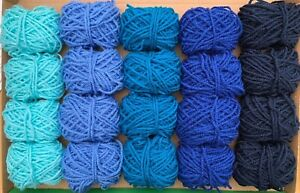 Blue Yarn Wool Job Lot Knitting Crochet Bundle Pompom Crafts Toy Accessories DK