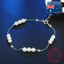Classic Stunning 925 Sterling Silver Shell Pearl With Clear CZ Bracelet