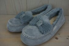 UGG ANSLEY FUR BOW GEYSER SHEEPSKIN LINED WOMENS SLIPPERS US 11 NIB