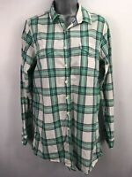 WOMENS JACK WILLS GREEN WHITE TARTAN CHECK BUTTON LONG SLEEVE SHIRT BLOUSE UK 10