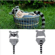 Neugeborene Baby Knit Strick Fotoshooting Kostüm Grau Fuchs Mütze Höschen