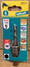 """wolfcraft HSS Zentrierbohrer 6mm Spanndorn f. Hohlborkronen 1/2"""" 12,7mm  5957000"""