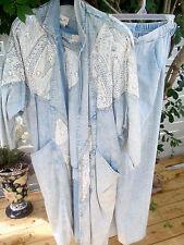 3 piece Vintage 80's  Denim Coat, Top,  Pants Studded Embellished handpainted