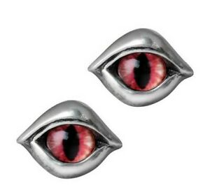 Alchemy Gothic Glass Marble Demon Eye Stud Earrings Surgical Steel Posts E422