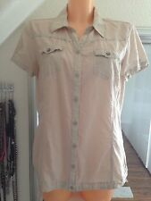 Cecil Natur Damenhemd Sommer  Bluse Damenbluse Hemd Beige Gr S
