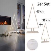 LED Tannenbaum Silhouette Weihnachtsbaum TischLampe Pine Sompex Holz weiß SET