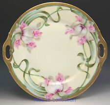 THOMAS BAVARIA FLORENTIA ITALY HAND PAINTED PINK FLORAL ART NOUVEAU CAKE PLATE