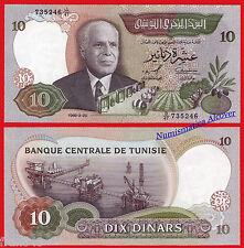 TUNEZ TUNISIA 10 Dinars dinares 1986 Pick 84  SC / UNC