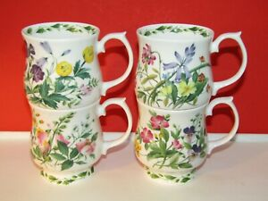 """Set 4 Queen's """"Royal Horticultural Society""""Fine Bone China Floral Garden Mugs"""