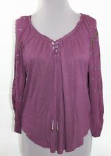 Free People Shirt XS Tunic Boho Oversize Top Dark Purple High Low NWT