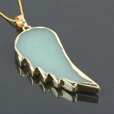 Green Aventurine Angel Feather Wings Gemstone Stone Quartz Healing Bead Pendant