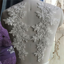 1 Pair Lace Applique Trim Embroidery Sewing Motif Wedding Bridal DIY Crafts