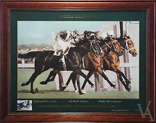 HORSE RACING MEMORABILIA FRAMED PHOTO PRINT TRIPLE DEAD HEAT