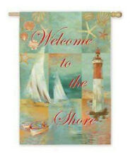 Beach Welcome to the Shore Lighthouse boating sea shells Summer Large Flag